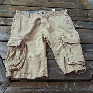 H&M Cargo Shorts Button Up Fly Size 34 Khaki
